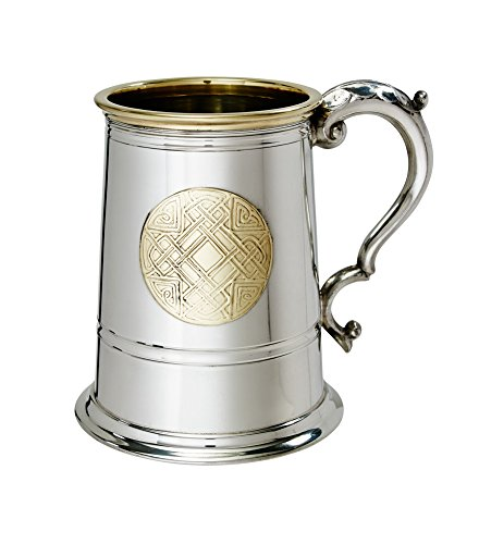 Wentworth Pewter Celtic Gold 1 Pint Pewter and Brass Tankard