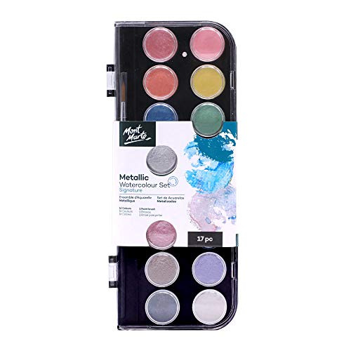 Mont Marte Metallic Watercolor Set, Pearl Paint, 17 Piece, 16 Vibrant Colors, 1 Paint Brush