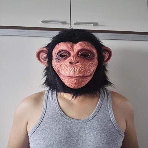 XWYWP Mscara de Halloween con cabeza completa, mscara de mono de animal primate, disfraz de Halloween, mscara de piel, Navidad, cumpleaos, mscaras, asthepicture