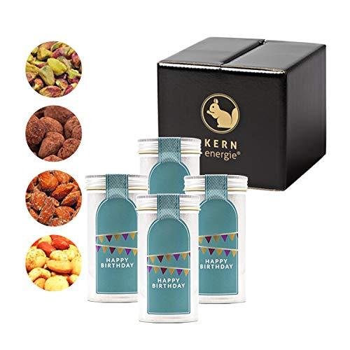 KERNenergie Geburtstags-Geschenk Set, Nuss-Mischung – schokolierte, gebrannte und geröstete Nüsse in edler Geschenk-Box, 2 x 90 g, 2 x 100 g