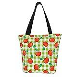 Bolso de lona a cuadros y manzana roja para mujer, a la moda, casual, bolsa de compras, bolso de la compra.