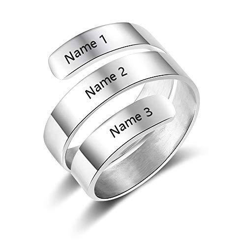 Anillo espiral personalizado con nombres grabados BFF Wrap Rings Anillos grabados ajustables para nombres Best Friends Promise Rings