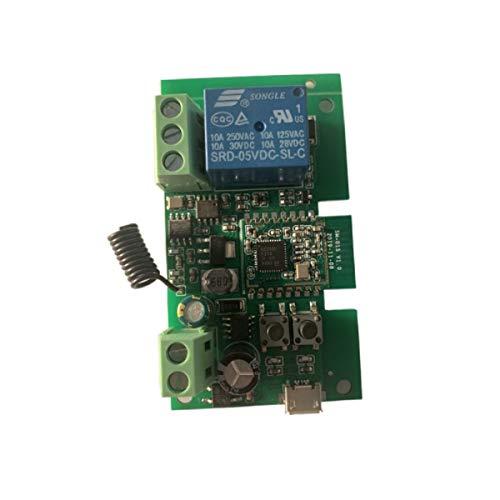 MHCOZY Interruptor de relé inteligente ZigBee de 1 canal 5 V, 12 V, bloqueo automático ajustable y modo de trabajo momentáneo, funciona con Philips Hue, SmartThings, Alexa, Google Home