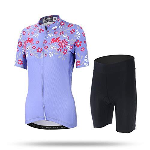 Conjunto de Maillot de Ciclismo, Camisetas de Ciclismo de Carretera MTB de Manga Corta Pro Team Women + Culotte con Tirantes para Pantalones Cortos Al Aire Libre (Color : B, Talla : X-Small)