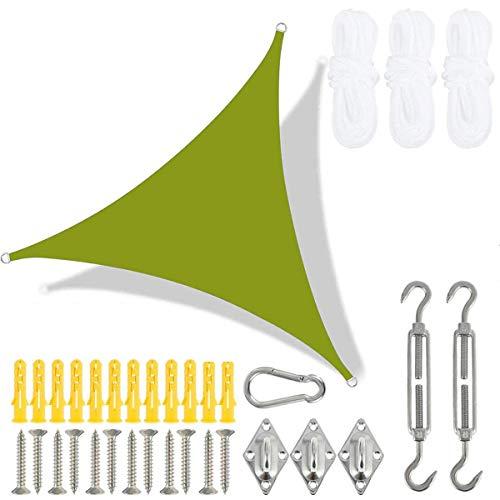 Sonnensegel Sonnenschutz Wasserdicht Dreieckig Garten Balkon inkl Befestigungskit, Wetterschutz Wasserabweisend Schattenspender 300D Polyester UV Schutz für Outdoor Carport yellow-green-3.6x3.6x3.6m