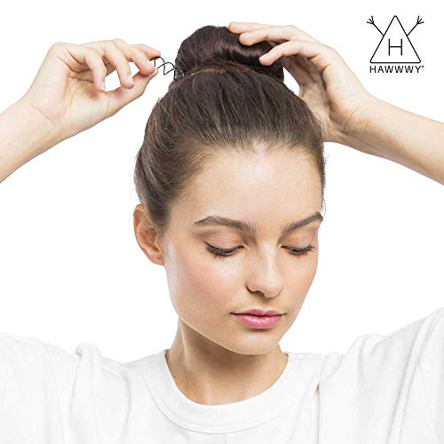 Hawwwy Spiral Bobby Pins 4 Pack Spin Pins, Easy & Fast Bun Maker Twist Hair Pins for Women Kids, Updo Hair Accessories, Messy Bun Tool, Perfect Small Bun Bobbypins Bobbie Fashion (Brown)