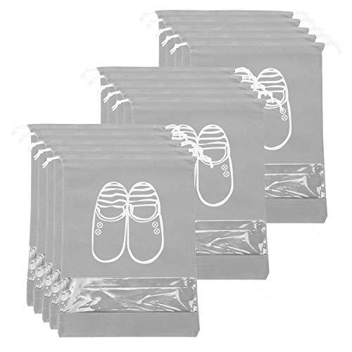 Yzbtj Bolsa De Viaje para Zapatos De 15 Piezas, Grande, Portátil, No Tejida, con Cordón para Guardar Zapatos con Ranura Transparente para Viajes Y Uso Diario, Gris