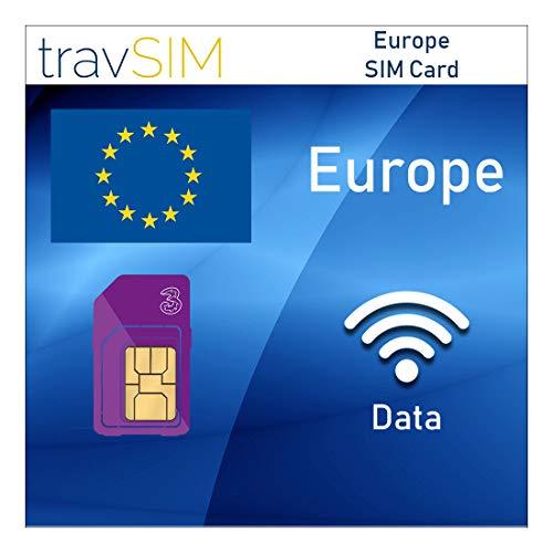 travSIM - Tarjeta SIM Europea (Tarjeta SIM Three UK para Europa) Válida por 30 Días - Datos Móviles de 20GB - Alemania Austria Italia Francia Suiza - Llamadas y Mensajes de Texto a Países Europeos