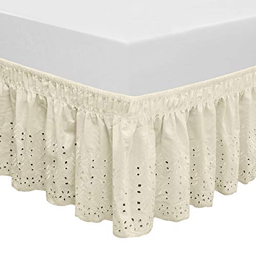 QSY Home Wrap Around Elastic Eyelet Bed Skirts 14 1/2 Inches Drop Dust Ruffle Three Fabric Sides Easy On/Easy Off Adjustable Polyester Cotton(Ivory Queen/King)