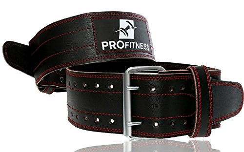 ProFitness Genuine Leather Workout Belt Weightlifting Gym Belt for Men and Woman Comes (Black/Red,...