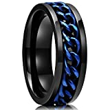 King Will 8mm Black Blue Spinner Ring Stainless Steel Fidget Ring Anxiety Ring For Men(12.5)