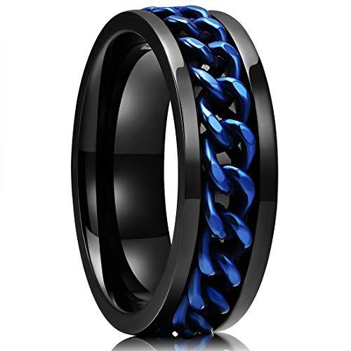King Will Stainless Steel 8mm Rings For Men Center Chain Spinner Ring, Size 13.5