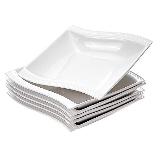 MALACASA Salad Pasta Bowls, 18 Ounce Porcelain White Soup Bowls, Square Serving Bowls Shallow Plates and Bowls for Soup, Ramen, Pasta and More, Series Flora