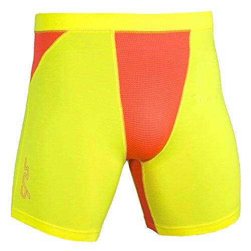 Sub Sports Heat 2.0 Mens Semi-Compression Boxer Shorts, Neon Yellow, XL