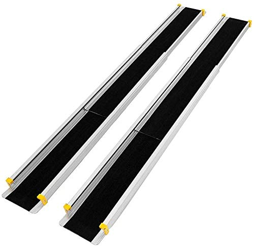 RELAX4LIFE 2 x Auffahrrampe, Teleskoprampe rutschfest, Rampe aus Aluminium, Auffahrschiene für Rollstuhl & Haustiere & Fahrrad, 3-stufig verstellbare Länge, bis zu 270 kg belastbar, 121,5-213,5 cm