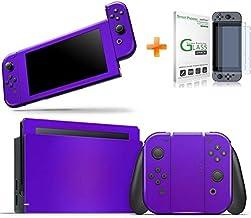 Kit Skin Adesivo Protetor Nintendo Switch + Película de Vidro (Roxo)