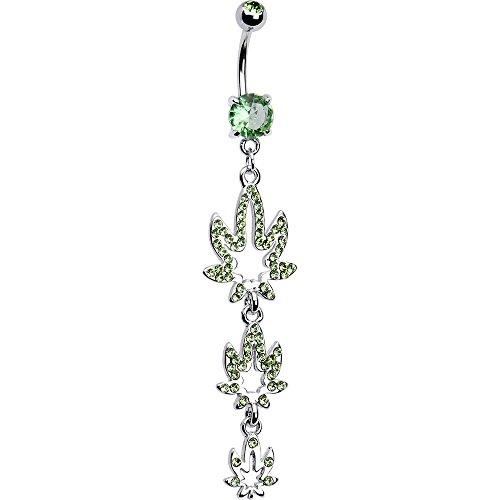"""Belly Navel Ring Dangle-Style with Pot Weed Leaves 14ga-3/8""""(10mm) - N101390"""