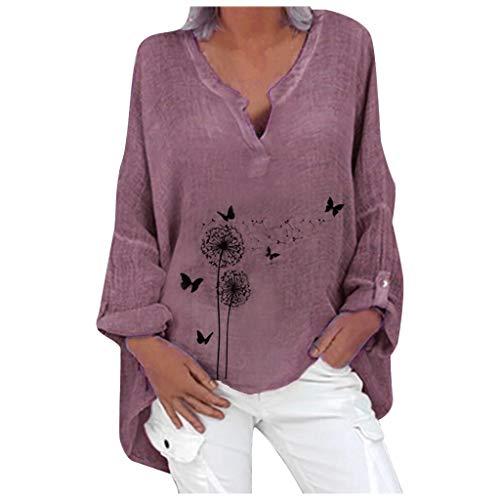 Dicomi Women V-Neck T-Shirt Fashion Plus Size Casual Long Sleeve Floral Print Loose Shirt Blouse Tops Purple
