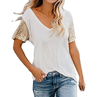 RAINED-Women's Blouse Short Sleeve Splice T-Shirt Comfy Casual Tops Loose Running Sports Tops V-Neck Sequin Tees