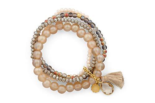 Lizas - Bracciale di perle beige, diversi modelli e sintetico., colore: Beige multi file con pietra U. nappa., cod. Lizasbeige