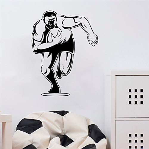 Ajcwhml Rugby Player Vinyl Wall Art Stickers Bedroom Cartoon Rugby Vinyl Wall Decal Gym Sport Decor Removable Wall Poster 44X58CM