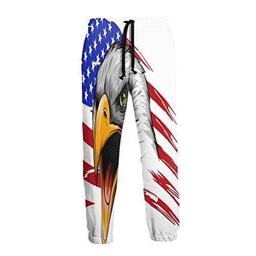 Olverz American Eagle - Pantalones deportivos transpirables para hombre, con bandera de Estados Unidos, para gimnasio, suaves