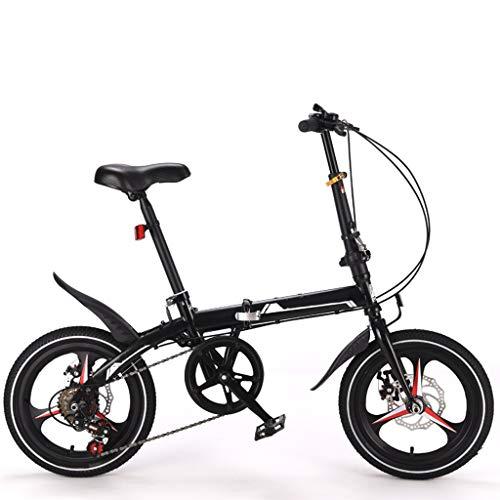 Bicycle Bike Fahrrad Mini Folding Bikes For Erwachsene, 16 Zoll 6-Gang, Leichte Kreuzer-Fahrräder, Studenten, Frauen, Herren, Stadt Compact Pendeln, Kinder, Jungen, Mädchen, High Carbon Stahlrahme