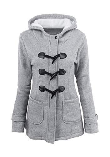 OMZIN Women's Wool Blend Toggle Coat Outdoor Hooded Pea Coat Duffle Jacket Light Grey XS