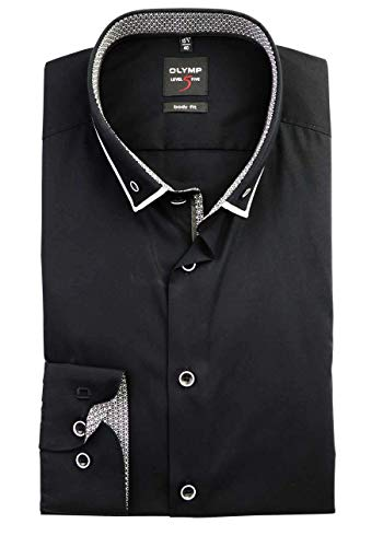 OLYMP Level Five Herren Hemd Body Fit Langarm, Button-down mit Doppelkragen in Schwarz (43)