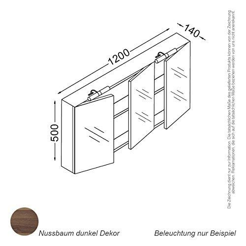 Kzoao Spiegelkast 120 cm Walnoot
