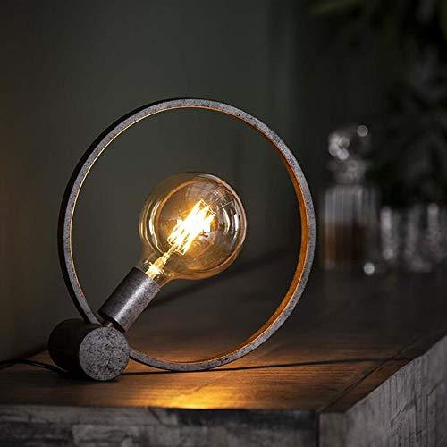 famlights Tischleuchte Giuseppe aus Metall in Silber,1x E27, Rund Industrie Design   Industrial Tischlampe Wohnzimmer Schlafzimmer   Designerleuchte Standleuchte Nachttischlampe   Vintage Stehleuchte