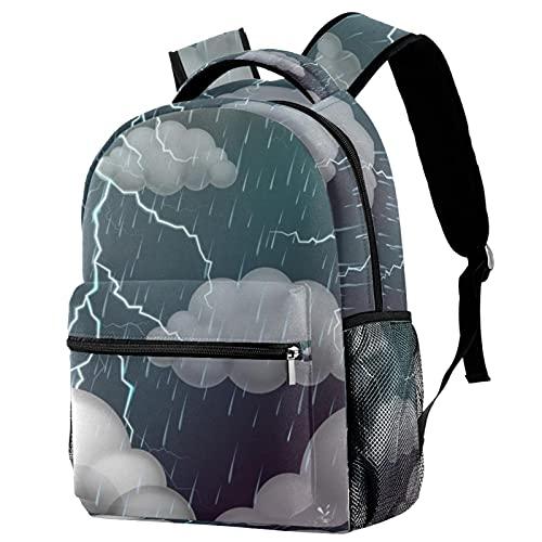 Sac à dos de voyage pour campus - Scène du ciel avec tonnelles et sacs de pluie avec porte-bouteille - Pour filles et garçons