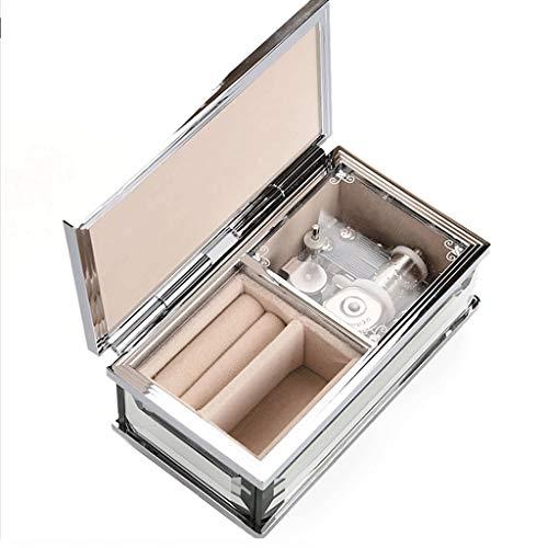 Xilinshop Caja de m¨²Sica Espejo de Cristal Caja de música Caja de música Música cumpleaños Caja de Regalo Chica Mini Caja de la joyería Caja de Almacenamiento Joyero Musical (Color : Silver)