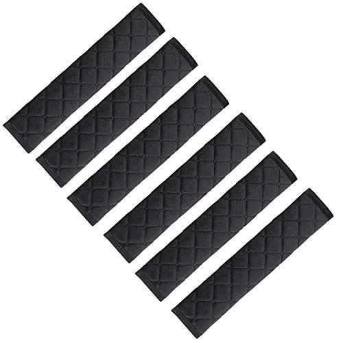 NEPAK 6 Pack Universal Car Seat Belt Pads Cover,Seat Belt Shoulder Strap Covers Harness Pad for Car/Bag,Protect Your Neck and Shoulder from The Seatbelt Rubbing/Lrritation (Black)