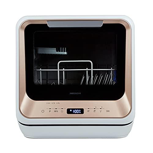 MEDION Mini Geschirrspüler (Tischgeschirrspüler, Spülmaschine, 2 Maßgedecke, funktioniert mit/ohne Wasseranschluss, 6 Reinigungsprogramme, für Babyflaschen, Startzeitvorwahl, freistehend, MD 37217)