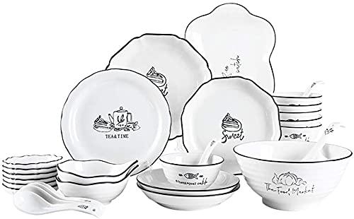 Juego de Platos, Conjunto de vajillas de cerámica, Platos/Cuencos/Plato/Cucharada de 28 Piezas de vajilla de Porcelana combinación de Porcelana. Servicio de Restaurante para 6, Euro Ceramica