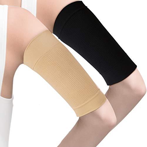 WILLBOND 4 Pares Mangas de Brazo de Adelgazar Manguitos de Compresión de Brazo Elástico Formadores de Brazo de Fitness Deportivo para Mujeres Niñas Pérdida de Peso (Color Negro y Desnudo) ✅