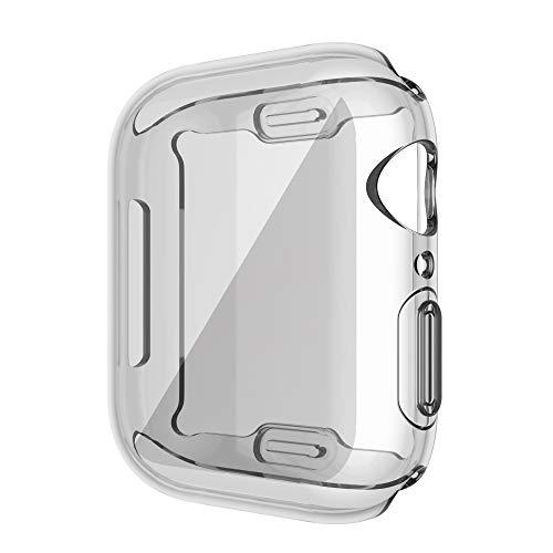 JJBFAC Caso de Cubierta de Reloj para Watch Series 6 5 4 3 2 1 Caso 42mm 38m 40 mm 44mm Slim Soft TPU Caso Protector de Pantalla para Watch 6/5/4 (Color : Transparent, Dial Diameter : For 40mm)