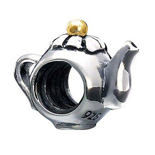 MATERIA Beads Anhänger Teekanne Silber 925 vergoldet bicolor antik #1118