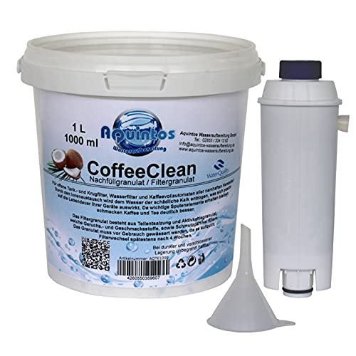 Aquintos Wasseraufbereitung Refill-Set passend für Delonghi ECAM / SER3017 | DLSC002 mit 1 Liter Nachfüllgranulat