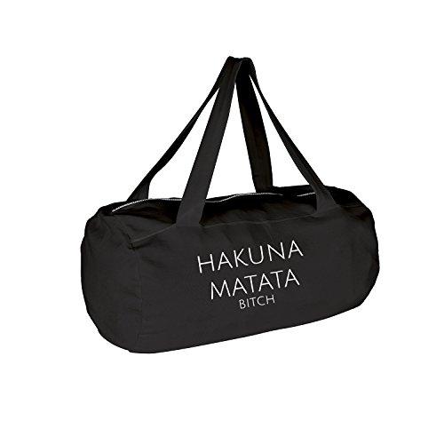 hakuna matata Tasche mit Spruch verschiedene Motive & Designs PREMIUM QUALITÄT Collegebag Gymbag Sporttasche (95-Laguna-Schwarz)