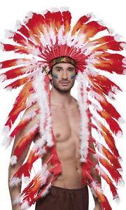 Nerd Clear Indianer Feder Kopfschmuck für Häuptlinge | rot & weiße Federn