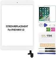 SRJTEK For iPad mini 1/2 A1432 A1454 A1455 A1489 A1490交換修理用のタッチスクリーンデジタイザースクリーン交換部品、ICチップ+ホームボタン+カメラホルダー、無料の保護フィルム+工具セット(液晶パネルなし、説明書なし)ホワイト
