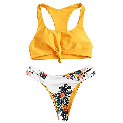 ZAFUL Women's Scoop Neck Knotted Racerback Tropical Two Piece Bikini Set Swimsuit (B-Yellow, M)