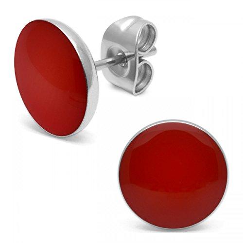 SoulCats® 1 Paar runde Ohrstecker aus Edelstahl in rot, glänzend