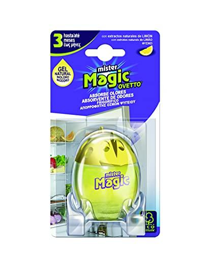 Mister Magic, Ovetto Assorbiodori Frigo Limone, Deodorante con Estratti Naturali di Limone, 3 Mesi di Durata, Mantiene Inalterato l'Odore dei Cibi