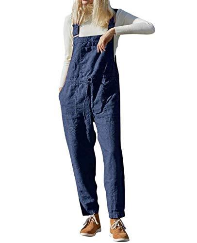 MINTLIMIT Damen Leinen Overalls Latzhosen Retro Weites Bein Jumpsuit Baggy Latzhose Harem Strampler Romper Beiläufige Riemchen Paket Lose Hose (#4950_Blau,L)