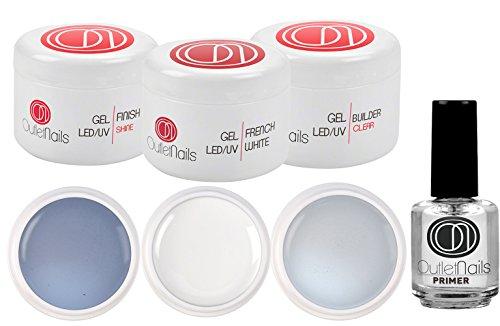 Kit de UV Gel 3 Geles de 15ml + Primer 15ml para uñas de gel / 1 x UV/LED Gel 3 en 1 Brillo + 1 x UV/LED Ge French Blanco + 1 Gel UV/LED Constructor Clear+ 1 Primer 15ml