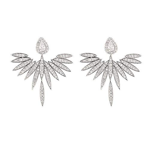 925 Sterling Silver Angel Wings Stud Earrings,With Good Quality Fashion 3A Zircon Silver Jewelry Wild Two-Wear Earrings For Girl Women Anniversary Wedding Mother'S Day Gift