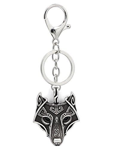 Vikingo Odin Wolf colgante llave llavero llavero negro ónix ojos antiguos plata metal escandinavo nudo Raven MJOLNIR nórdico céltico runas nórdicas talismán sajón